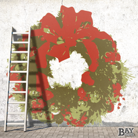 painted stencil art of Christmas Wreath