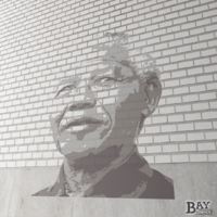 painted stencil art of Nelson Mandela