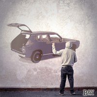 painted stencil art of Datsun