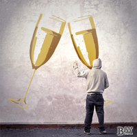 painted stencil art of Champagne