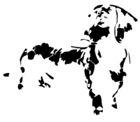 bridged layer 2 of stencil of Dachshund