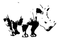 bridged layer 3 of stencil of Rhinocerous