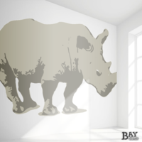 painted stencil art of Rhinocerous