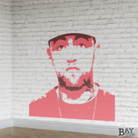 painted stencil art of Mac Miller