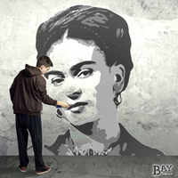 simulated stencil painting of Frida Kahlo