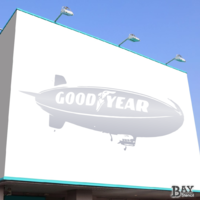 painted stencil art of Goodyear Blimp