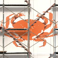 painted stencil art of Crab