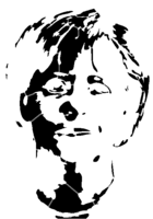 bridged layer 2 of stencil of Angela Merkel