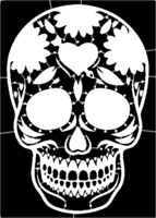 bridged layer 1 of stencil of Day of the Dead Skull