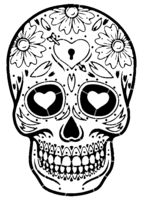 bridged layer 4 of stencil of Day of the Dead Skull