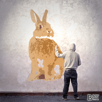 painted stencil art of Rabbit