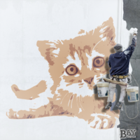 simulated stencil painting of Kitten