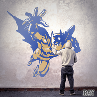 simulated stencil painting of Batman