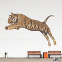 painted stencil art of Tiger Lunge