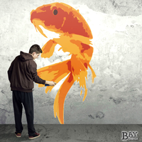 painted stencil art of Goldfish