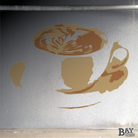 simulated stencil painting of Cappuccino