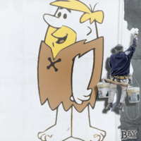 painted stencil art of Barney Rubble
