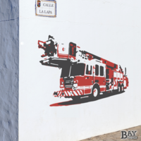 painted stencil art of Hook and Ladder