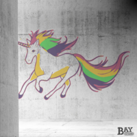 painted stencil art of Unicorn