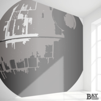painted stencil art of Death Star