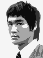 stencil of Bruce Lee