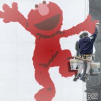 painted stencil art of Elmo