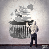 simulated stencil painting of Cupcake