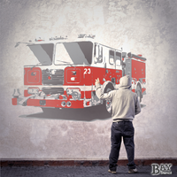 simulated stencil painting of Fire Truck