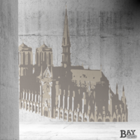 painted stencil art of Notre Dame Cathedral