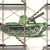 painted stencil art of Army Tank
