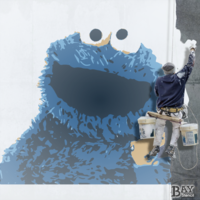 painted stencil art of Cookie Monster