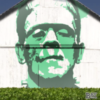 simulated stencil painting of Frankenstein