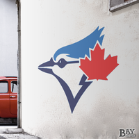 painted stencil art of Blue Jays