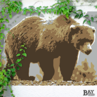 simulated stencil painting of Grizzly Bear