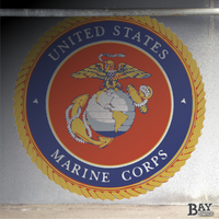 painted stencil art of USMC