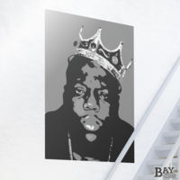 painted stencil art of Biggie Smalls