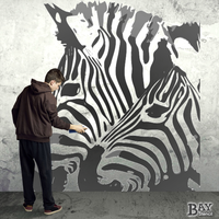 painted stencil art of Zebras