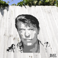 simulated stencil painting of David Bowie