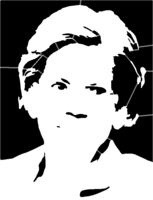 bridged layer 3 of stencil of Elizabeth Warren