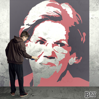 painted stencil art of Elizabeth Warren