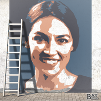 painted stencil art of AOC