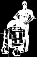 bridged layer 1 of stencil of R2-D2 and C-3PO