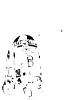 bridged layer 2 of stencil of R2-D2 and C-3PO