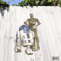 painted stencil art of R2-D2 and C-3PO