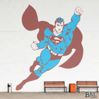 painted stencil art of Superman