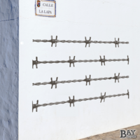 painted stencil art of Barbed Wire
