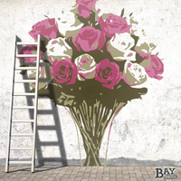 simulated stencil painting of Bouquet of Roses