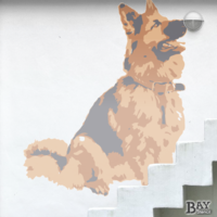 painted stencil art of German Shepherd