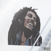 painted stencil art of Bob Marley