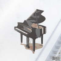 painted stencil art of Grand Piano